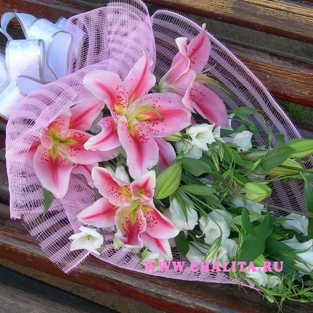 Букет розовые лилии букет из лилий