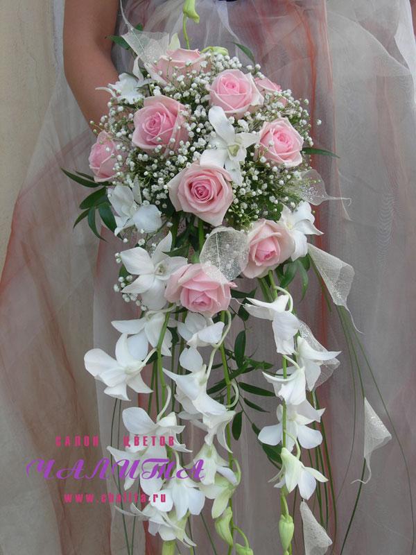 Букет невесты королевский розовый