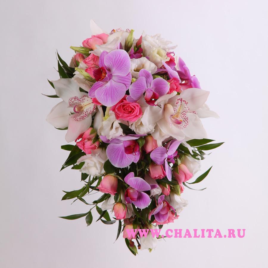 Букет невесты сиреневые фаленопсисы